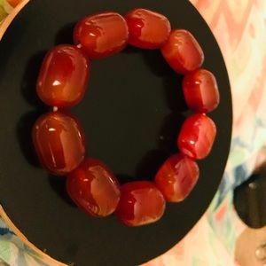 Stone elastic caramel large heavy stone bracelet.